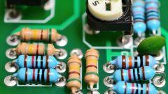 Resistors on a PCB board.