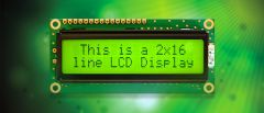 This is a character LCD display on a green background.