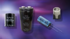 Four different types of electrolytic capacitors on a purple background.