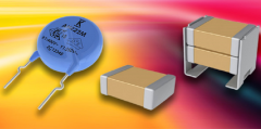 Different ceramic capacitors on a yellow and red background.