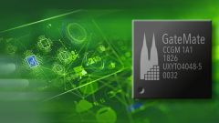 A Field Programmable Gate Array (FPGA) on a green backround.