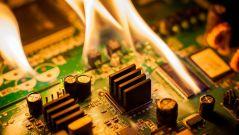 Burning electronic components.