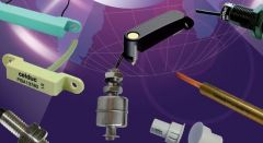 Different types of reed sensors on a purple background.