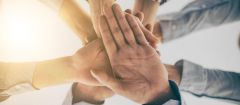 This picture shows collaboration at work, employees put their hands together...