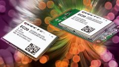 Two LTE modules on a colorful background.