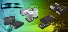 Different types of polymer capacitors on a colorful background.